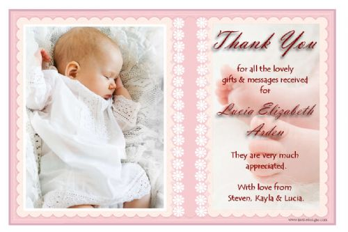 10 Personalised Girls Christening Baby Birth Thank you PHOTO Cards N141